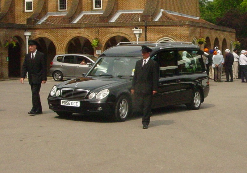 The hearse arrives